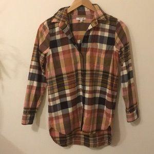 Madewell pink plaid cotton button down shirt